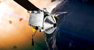 Artist illustration of OSIRIS-REx approaching asteroid Bennu