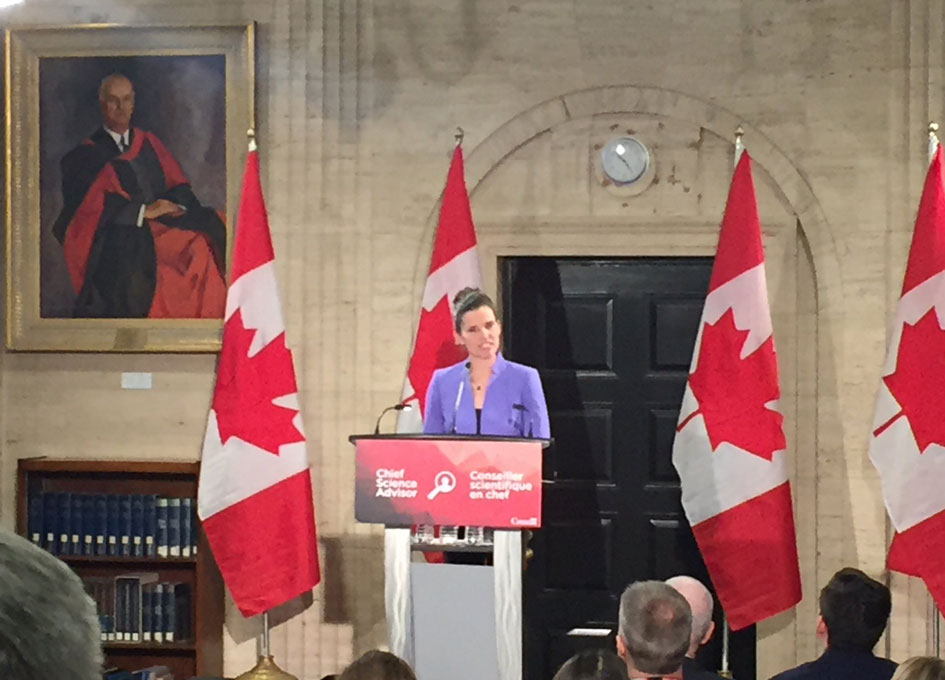 Hon. Kirsty Duncan announcing the search for a new Chief Science Advisor.