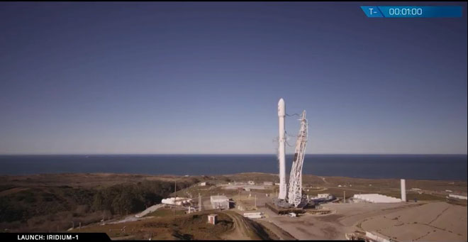 SpaceX Falcon 9 on the launch pad for the Iridium 1 mission.