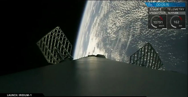 SpaceX falcon 9 1st stage preparing for reentry and landing.