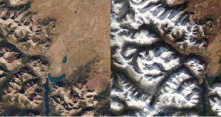 Before (Sep 30, 2015) and after (Nov 4, 2015) images of Waterton Lakes National Park showing November snow dusts in the eastern Canadian Rockies