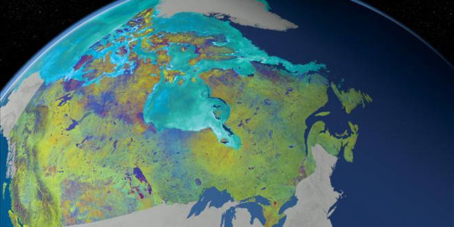 This is a Mosaic of Canada which is made from 121 images captured by Canadian satellite RADARSAT-2