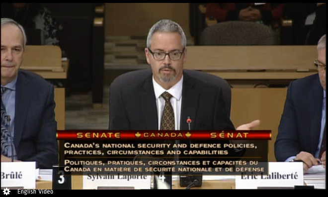 Canadian Space Agency President Sylvan Laporte testifying at the Proceedings of the Standing Senate Committee on National Security and Defence on Nov. 21, 2017.