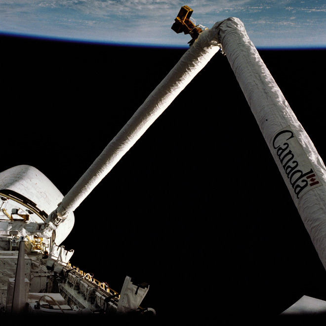 On Space Shuttle mission STS-2, Nov. 1981, the Canadarm is flown in space for the first time.