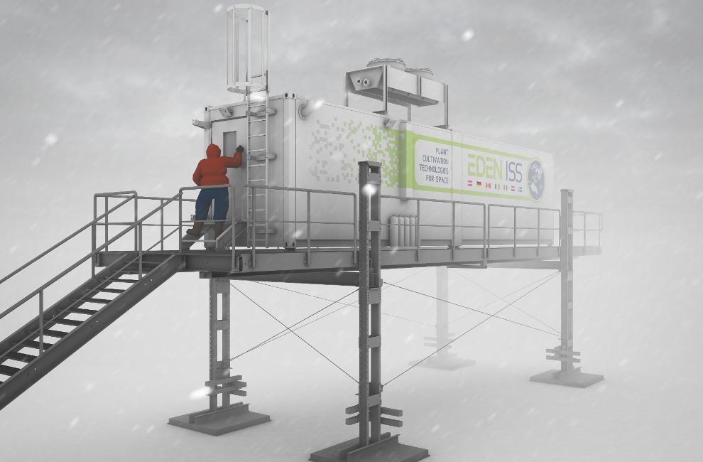Rendering of the EDEN ISS greenhouse in Antarctica.