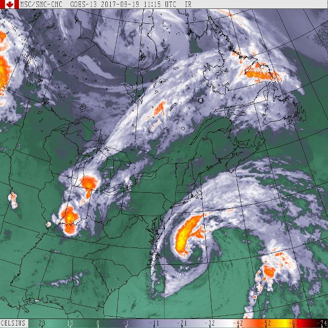 NOAA GOES-East IR image track of hurricane Jose.