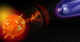 Space Weather - Artist illustration of events on the sun changing the conditions in Near-Earth space