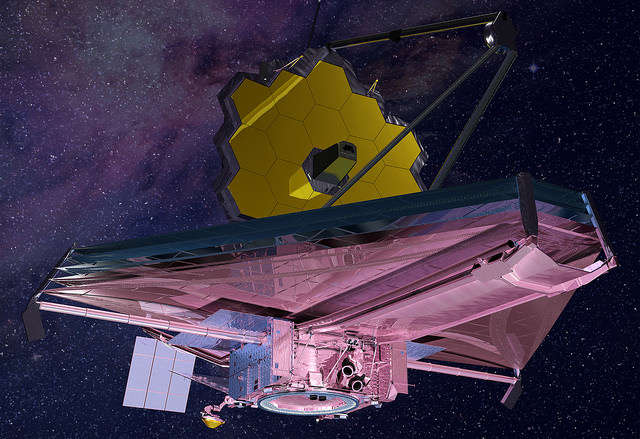 This rendering of the James Webb Space Telescope is current to 2015. Upon request we can provide a high-resolution image without a background