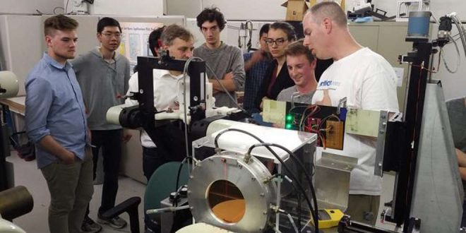 Students from Simon Fraser University at TRIUMF in Vancouver for the radiation testing workshop