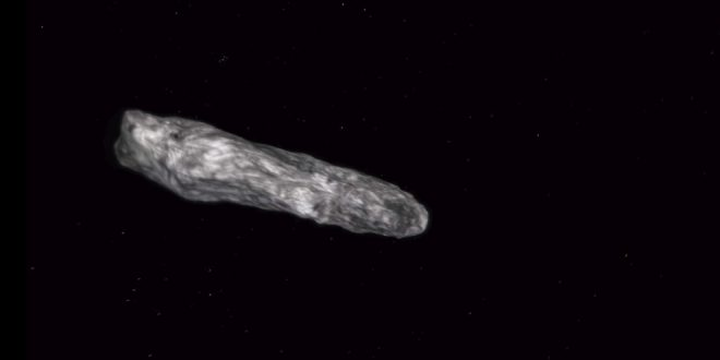 This artist's concept from an animation shows the interstellar asteroid 1I/2017 (`Oumuamua