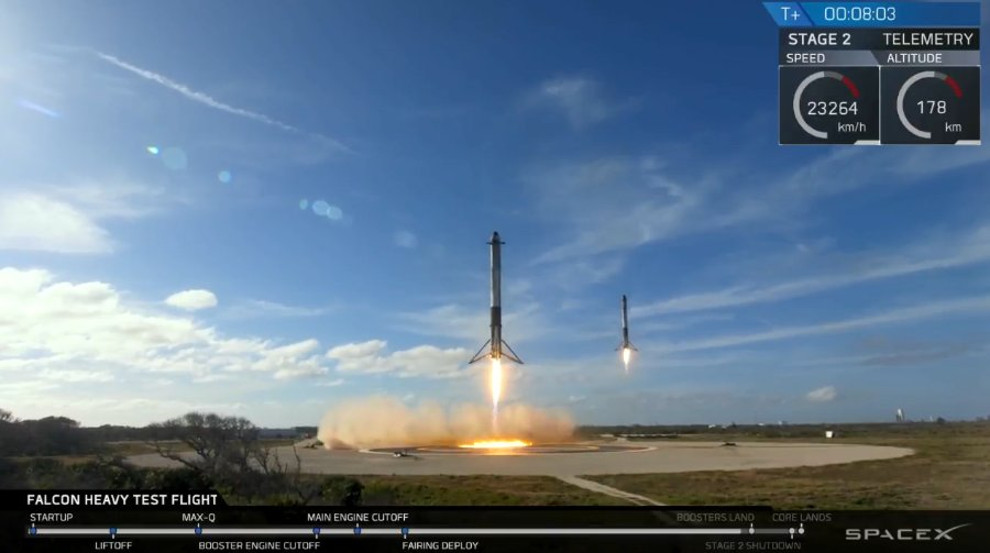 SpaceX Falcon side boosters landing
