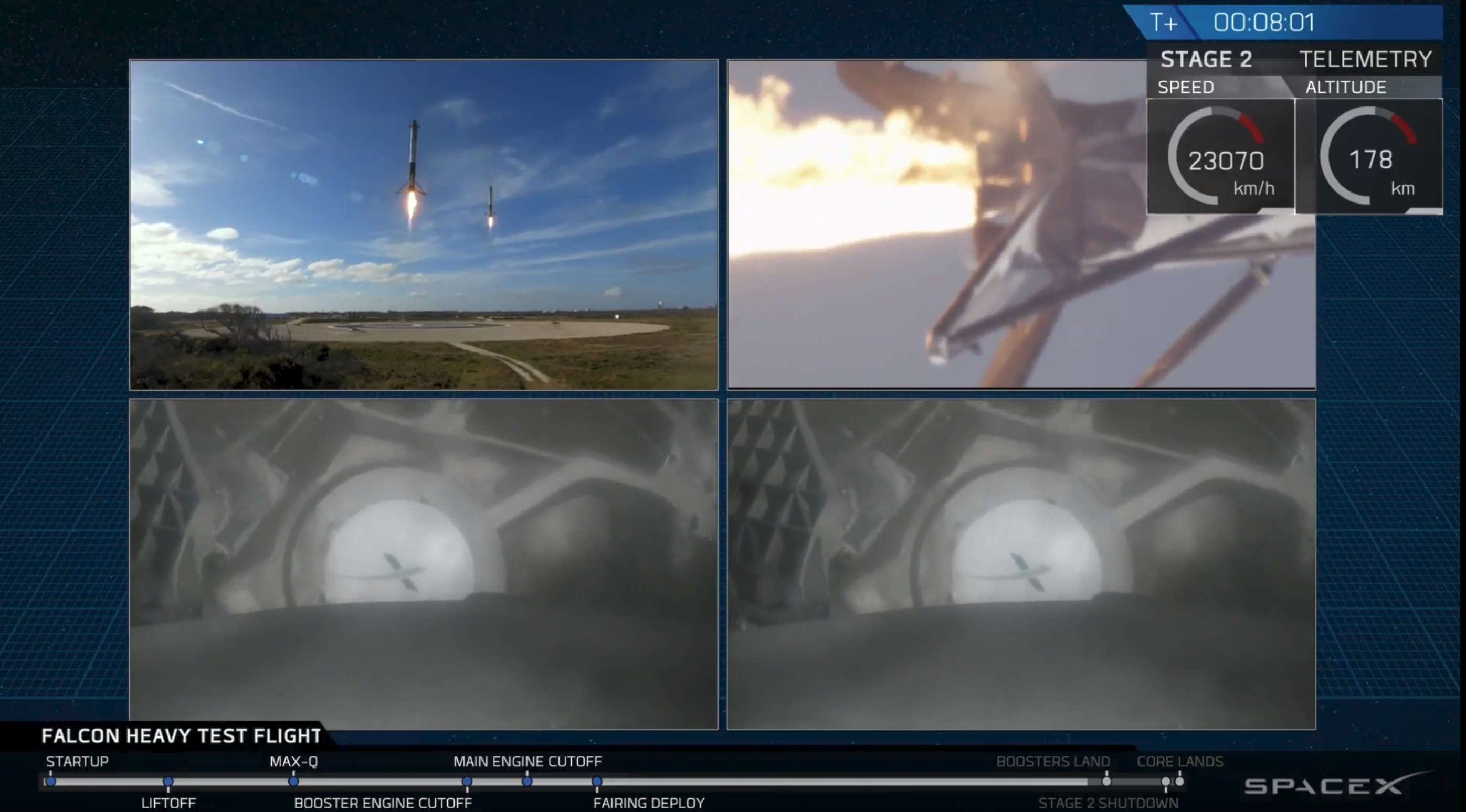 SpaceX Falcon Heavy side booster landing.