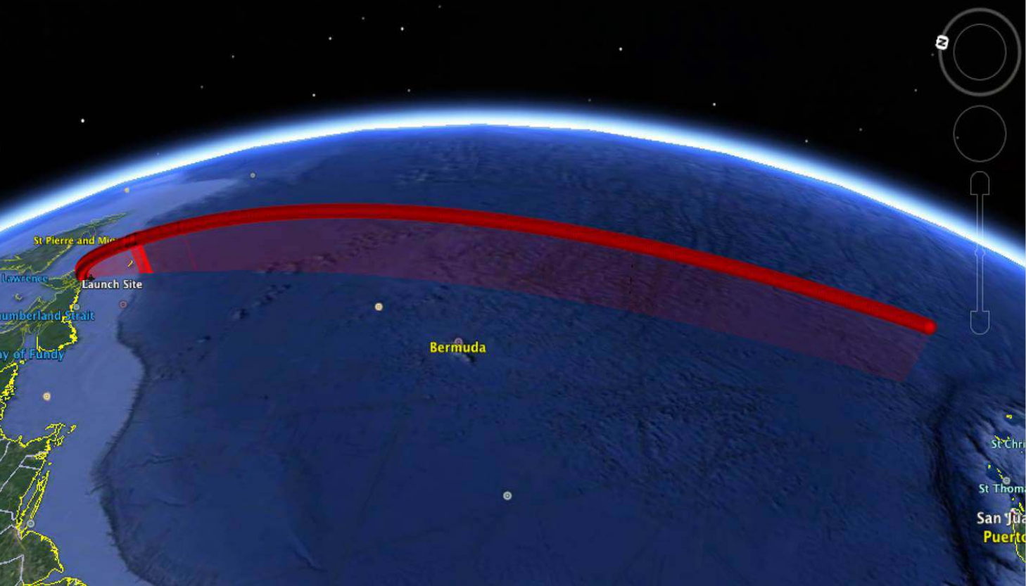 The launch trajectory would be specific to each particular mission. However, all launches would be conducted to the south over the Atlantic Ocean, similar to what is depicted above