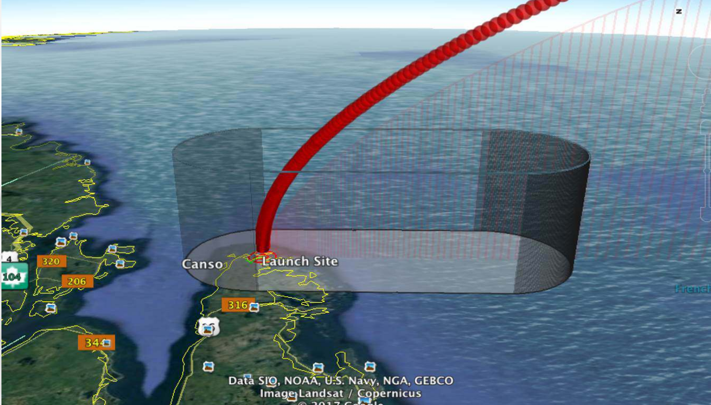 The launch trajectory would be specific to each particular mission. However, all launches would be conducted to the south over the Atlantic Ocean, similar to what is depicted below