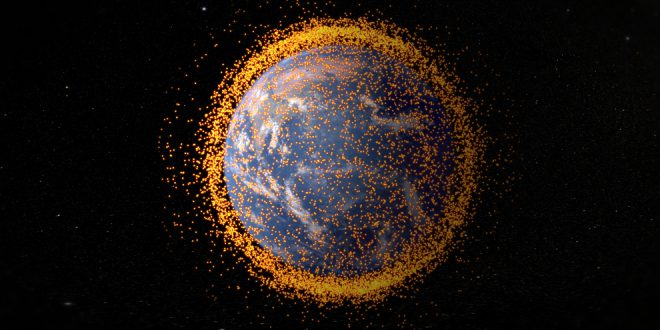 NASA image showing Earth with near-Earth orbital debris. The debris field is real data from the NASA Orbital Debris Program Office