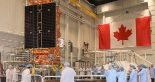 The first RCM satellite being transferred to the TVAC chamber at the David Florida Laboratory