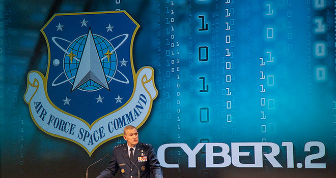 Lt. Gen. Michael J. Basla, Chief, Information Dominance and Chief Information Officer, Office of the Secretary of the Air Force speaks at the National Space Symposium Cyber 1.2 conference