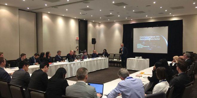 David Kendall speaking at a commercial space workshop during the Canadian SmallSat Symposium in February 2018