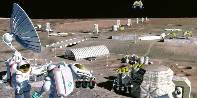 Artist's concept of possible exploration programs. Just a few kilometers from the Apollo 17 Taurus Littrow landing site, a lunar mining facility harvests oxygen from the resource-rich volcanic soil of the eastern Mare Serenitatis.