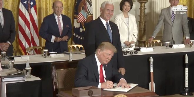 President Trump signs Space Policy Directive - 3 on space traffic management.