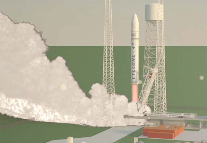 MLS rendering of a rocket launch