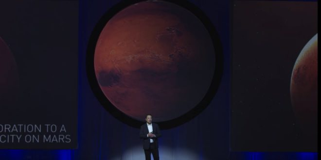 Elon Musk speaking at the International Astronautical Congress in Adelaide in September 2017.