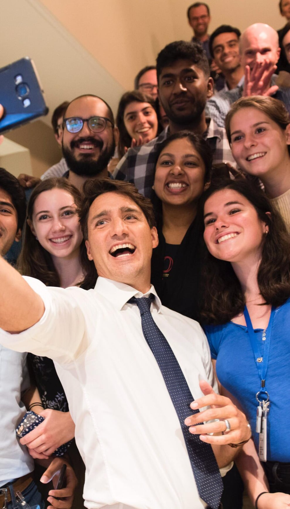 Prime Minister Trudeau takes times at MDA for some selfies