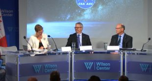 Laura Dawson, Director of the Wilson Center's Canada Institute moderating a panel with Canadian Space Agency president Sylvain Laporte and past president Mac Evans
