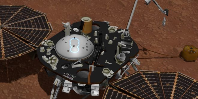 This illustration is a still frame from NASA's Experience InSight app (https://eyes.nasa.gov/insight). It shows in blue outline the location of the pressure sensor inlet, tucked inside the Wind and Thermal Shield. The pressure sensor inlet is part of InSight's Auxiliary Payload Sensor Subsystem
