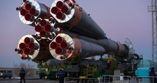 The Soyuz booster rocket and MS-11 spacecraft is seen as it arrives at the launch pad after being rolled out by train on Sat. Dec.1, 2018 at the Baikonur Cosmodrome in Kazakhstan. Launch of the Soyuz rocket is scheduled for Dec. 3 and will carry Expedition 58 Soyuz Commander Oleg Kononenko of Roscosmos, Flight Engineer Anne McClain of NASA, and Flight Engineer David Saint-Jacques of the Canadian Space Agency (CSA) into orbit to begin their six and a half month mission on the International Space Station