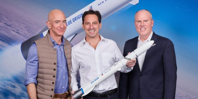 From left to right; Jeff Bezos, founder of Blue Origin, Dan Goldberg, CEO, Telesat, and Bob Smith, CEO, Blue Origin