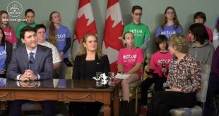 The Prime Minister, his wife Veronique Morin, General Julie Payette and students supported by Actua participated in teleconference with astronaut David Saint-Jacques who is on a six month mission on the International Space Station