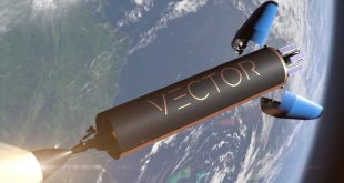 Artists illustration of Vector rocket fairing separation exposing payload before deployment