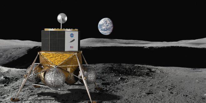 Artist illustration of a lander on the moon