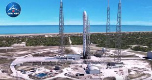 Screen image from the animation of the launch and deployment of the three satellites of the RADARSAT Constellation Mission