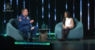 Dave Williams, former Canadian astronaut and CEO of Exploration Inc. talks with Shagun Maheshwari, machine learning developer and innovator, The Knowledge Society at the C2 Conference in Montreal prior to interacting with David Saint-Jacques on the International Space Station