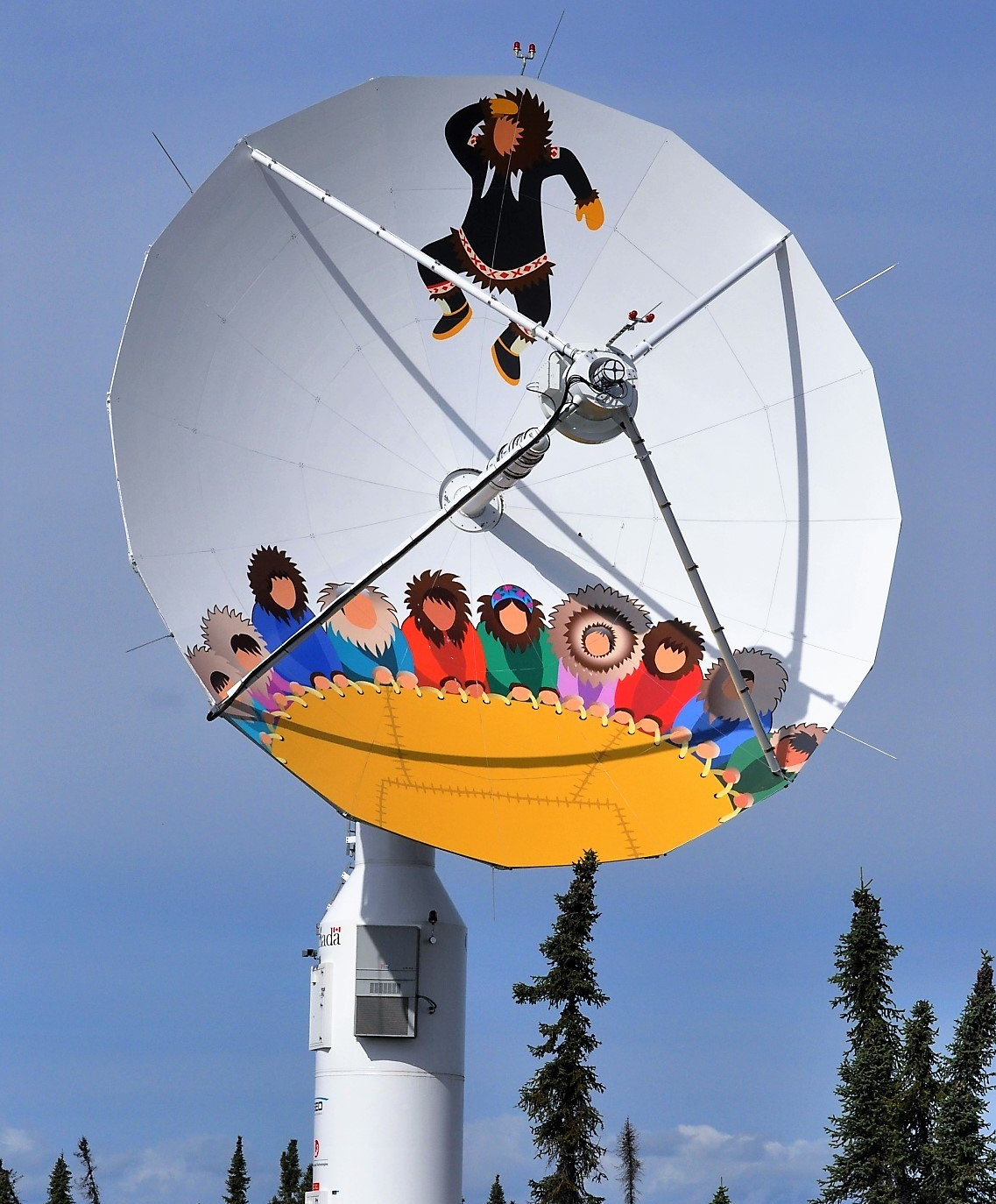 One of the satellite receiving dishes at the Inuvik Satellite Station Facility in Inuvik, Northwest Territories which receive data from the RCM