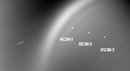 NEOSSat image of the three RCM satellites, RCM-1, RCM-2, RCM-3