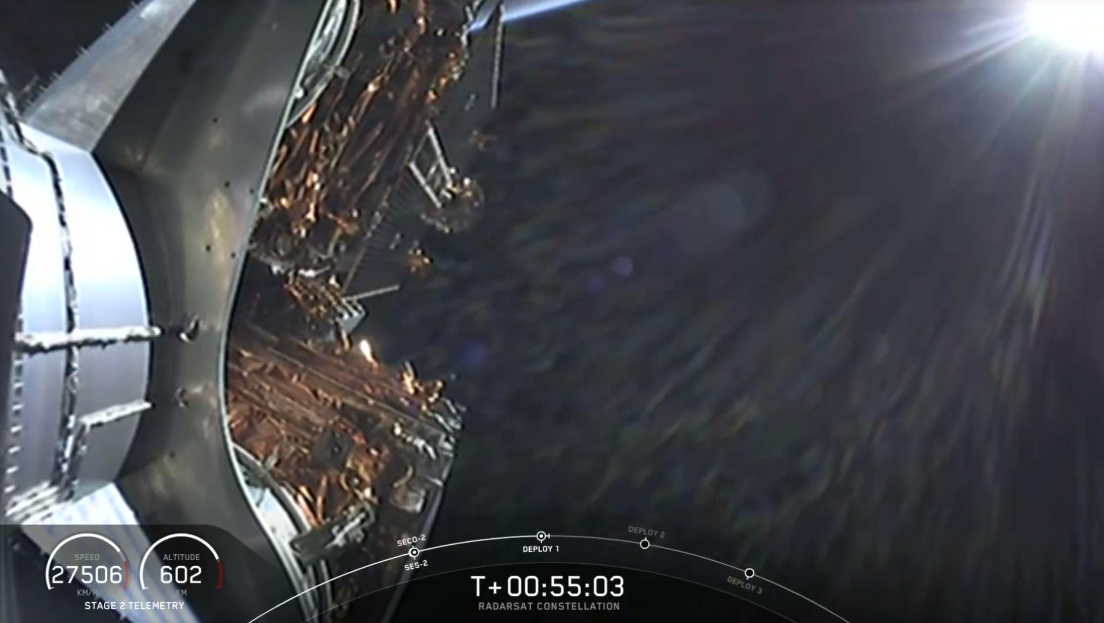 Deployment of the first RADARSAT Constellation Mission satellite
