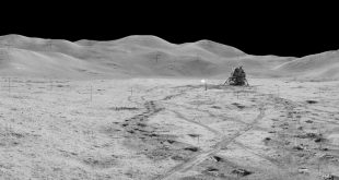View of Station 8 and (Mons) Mt. Hadley taken during the third moonwalk of the Apollo 15 mission