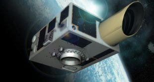Artist illustration of NEOSSat micro-satellite in space