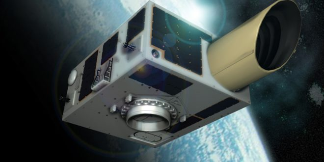 Artist illustration of NEOSSat micro-satellite in space