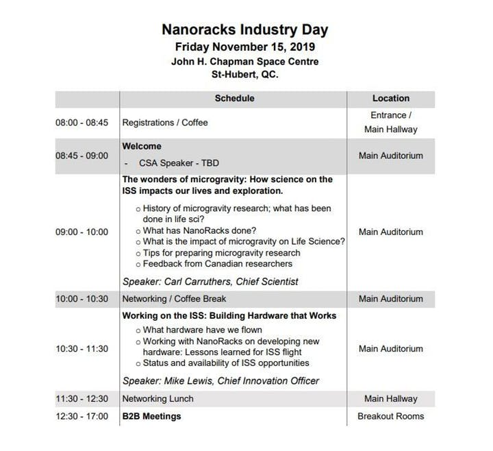 Nanoracks industry day preliminary agenda