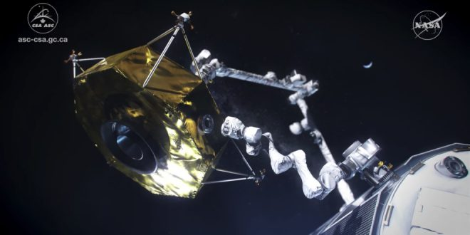 Animation of Canadarm3, Canada's contribution to the Lunar Gateway