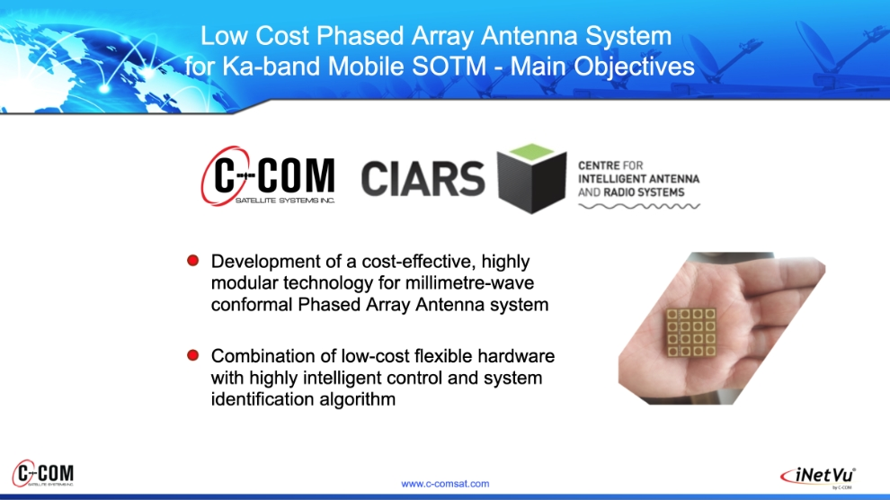 Low Cost Phased Array Antenna System  for Ka-band Mobile SOTM - Main Objectives