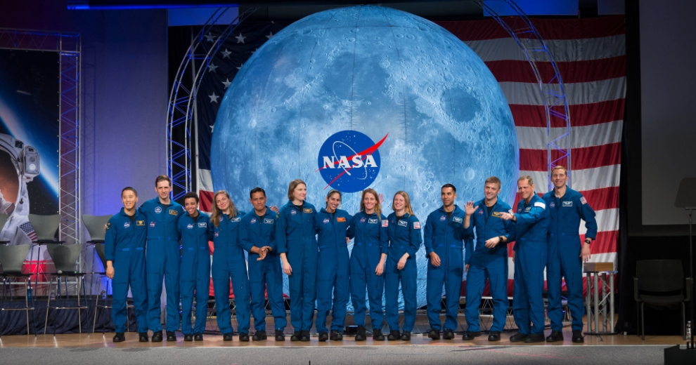 The 2017 Class of Astronauts participate in graduation ceremonies at the Johnson Space Center in Houston, Texas. From left are, NASA astronaut Jonny Kim, Canadian Space Agency (CSA) astronaut Joshua Kutryk, NASA astronaut Jessica Watkins, CSA astronaut Jennifer Sidey-Gibbon, NASA astronauts Kayla Barron, Jasmin Moghbeli, Loral O'Hara, Zena Cardman, Raja Chari, Matthew Dominick, Bob Hines and Warren Hoburg. This is the first class of astronauts to graduate under the Artemis program and are now eligible for assignments to the International Space Station, Artemis missions to the Moon, and ultimately, missions to Mars.