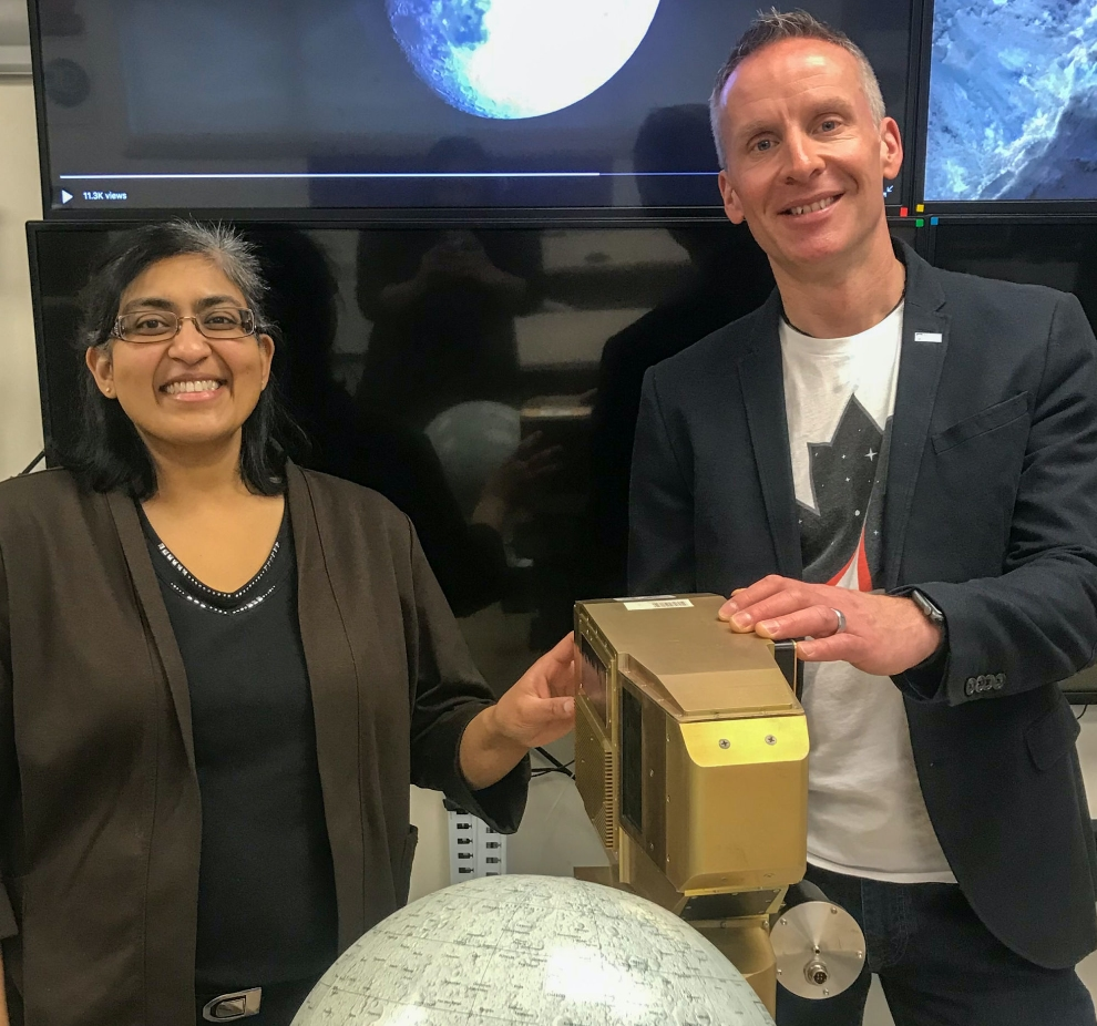 "Western University's Institute for Earth and Space Exploration (Western Space) has landed a major contract from the Canadian Space Agency (CSA) to develop an Integrated Vision System for future rover missions that could ultimately represent a flagship Canadian technology contribution for international missions to the Moon. In photo, Western Space Associate Director (Training and Education) Jayshri Sabarinathan and Western Space Director Gordon ""Oz"" Osinski."