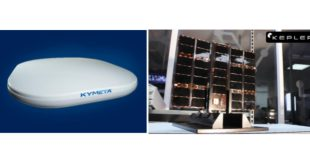 Kymeta's u8 lightweight, slim, and high-throughput Ku-band flat panel antenna terminal. Kepler's Ku-band high-bandwidth LEO satellite