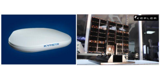 Kymeta's u8 lightweight, slim, and high-throughput Ku-band flat panel antenna terminal. Kepler's Ku-band high-bandwidth LEO satellite