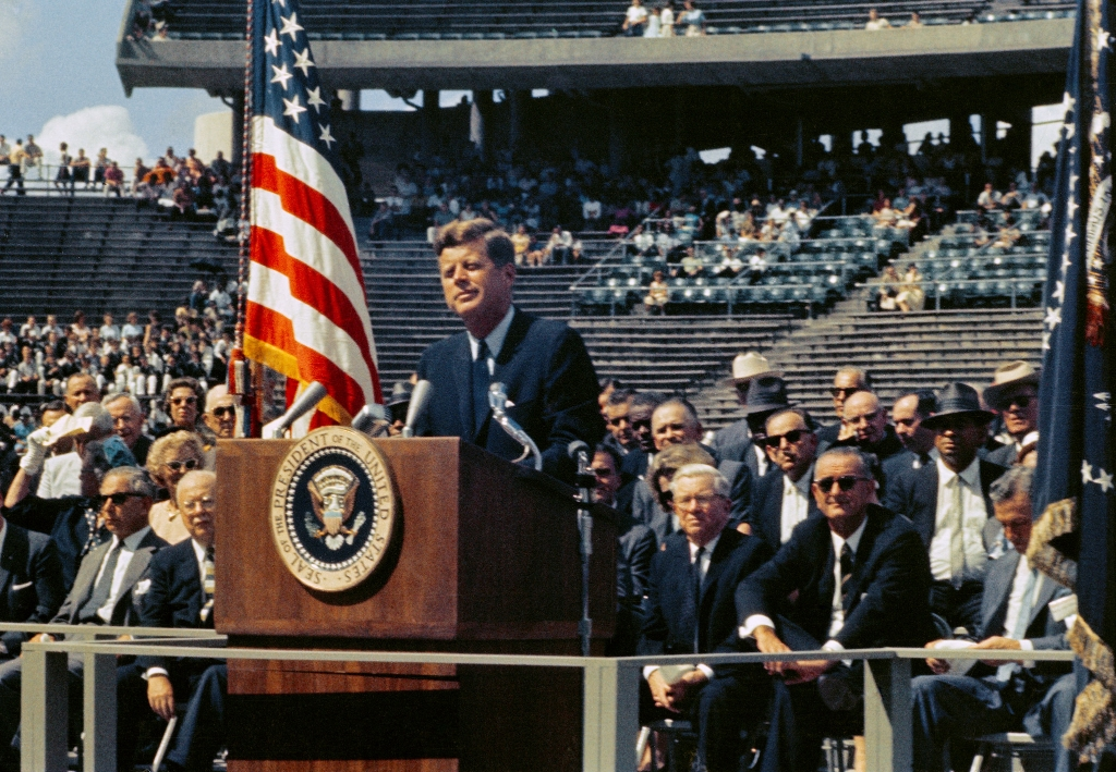 "President Kennedy - We Choose to Go to the Moon: Speech at Rice University Stadium in Houston, Texas, President Kennedy standing at lectern. Delivered, ""Address at Rice University on the Nation's Space Effort"" - a speech famed for the line ""We Choose to Go to the Moon, and do the other things, not because they are easy, but because they are hard."""